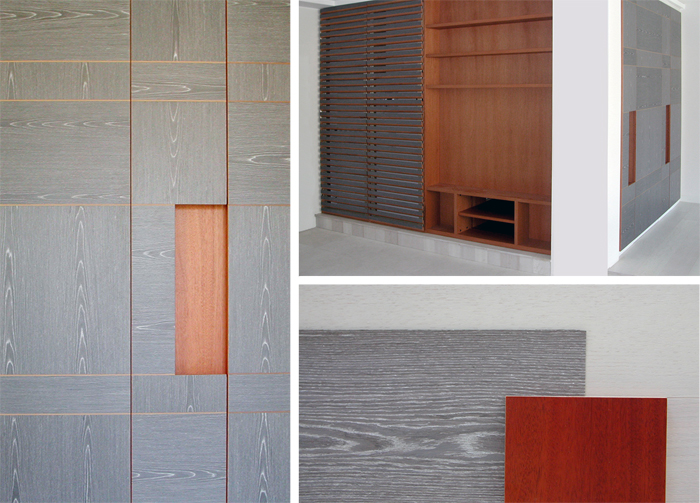 Material patchwork, grey oak and mahogany - Alessandro Villa architect