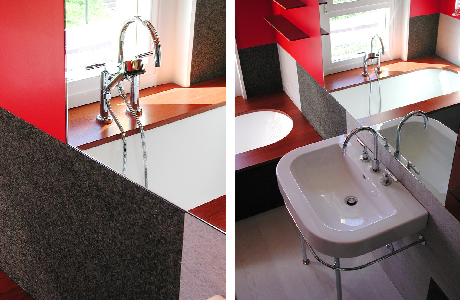 Material collage, black granite and hammered white gneiis - Alessandro Villa architect